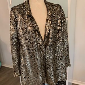 Free people gold and black sequined jacket